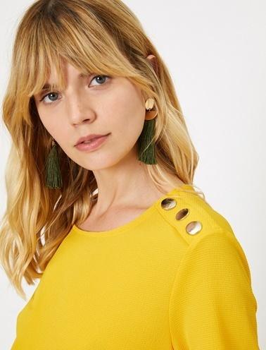 Koton Omuz Detayli Kisa Kollu Bluz Sarı